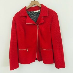 Chico's Full Zip Textured Red Jacket Large